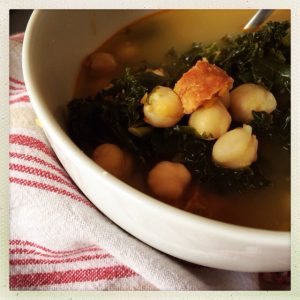 Thermomix Caldo (Spanish Chicken Broth with Kale, Chickpeas and Chorizo)