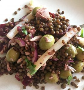 Feisty Tapas Fusion Puy Lentil Salad with Instant Pot Instructions. Puy lentils, olives, asparagus, tuna...