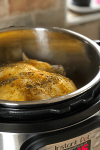 Instant Pot Lemony Chicken freshly cooked inside the Instant Pot's inner pot. A delicious dish, so easy to cook even midweek. The whole family will love it and, with a bit of luck, you'll have leftovers to use in soups, risottos and of course you can make stock with the bones and carcass