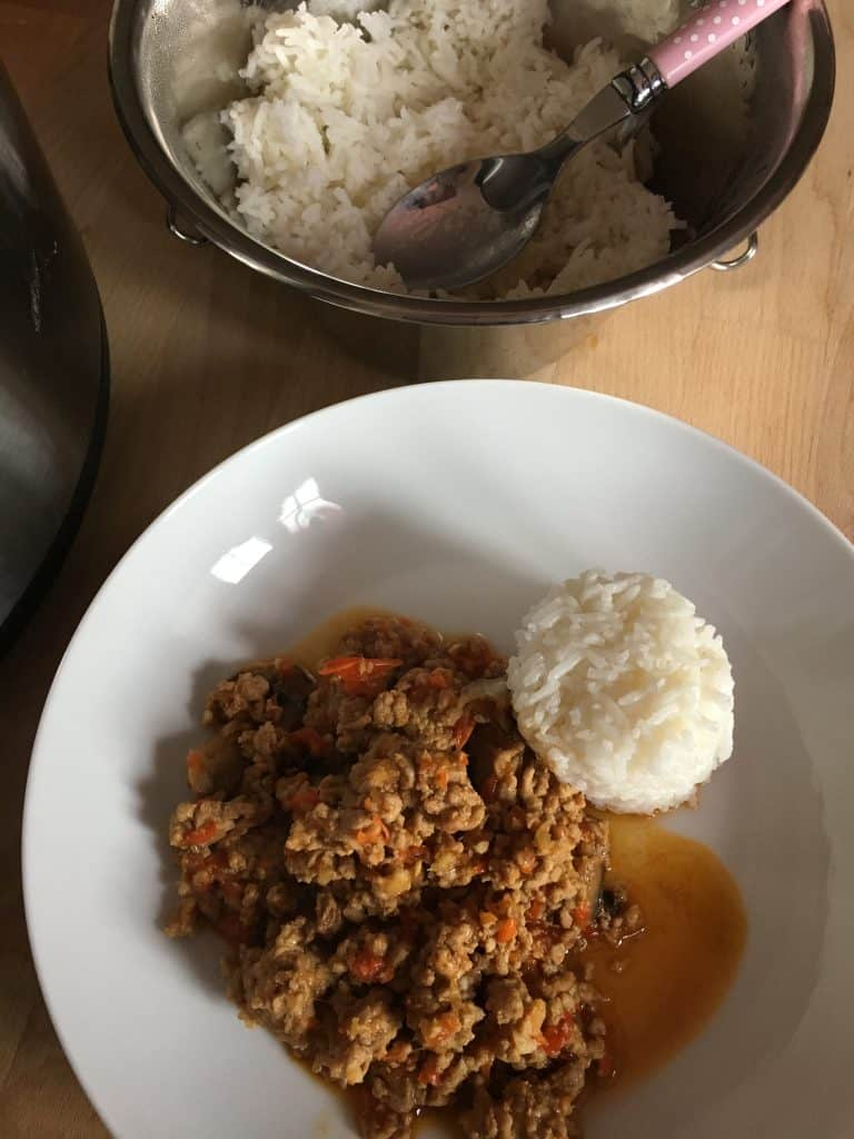 Instant Pot Lemony Mince in Oyster Sauce with Pot in Pot (PIP) Rice recipe. Cook the rice at the same time as the mince. A delicious all-in-one dish