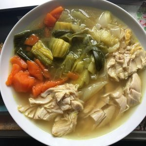 Delicious and super easy Instant Pot Chicken, Leek and Carrot soup. Served chunky in a deep white plate