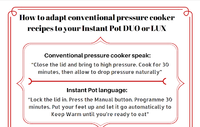 Download the guide to adapt conventional pressure cooker recipes to the Instant Pot