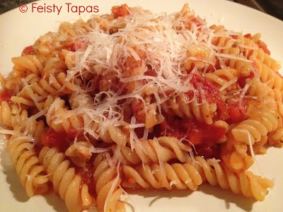 Pasta with chorizo in a tomato sauce
