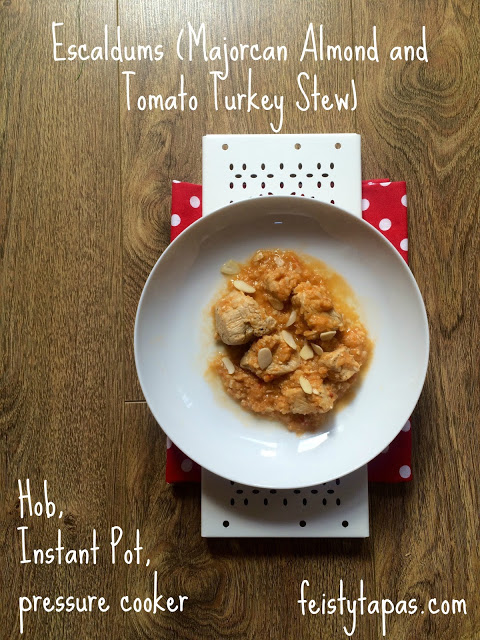 - 500 g diced turkey breast,1 tablespoon extra virgin olive oil or oil of your choice, 1 large onion, 2 garlic cloves, 125 ml dry white wine, 125 ml chicken stock (I used the Quirky cooking paste with 125 ml water), 3 vine-ripened tomatoes, 40 g almonds, plus a handful for serving, 1 bay leaf, Salt and black pepper