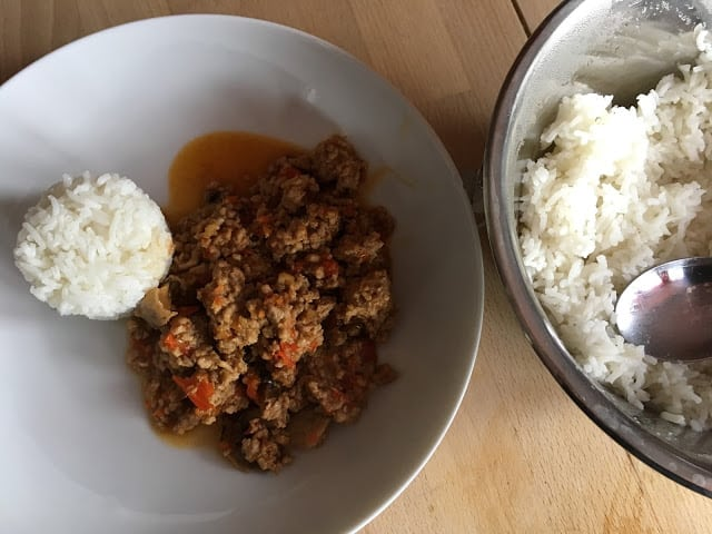 Instant Pot Pressure Cooker Lemony Mince in Oyster Sauce and with Pot in Pot (PIP) Rice