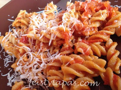 pasta twists, chorizo, chopped tomatoes, parmesan cheese,