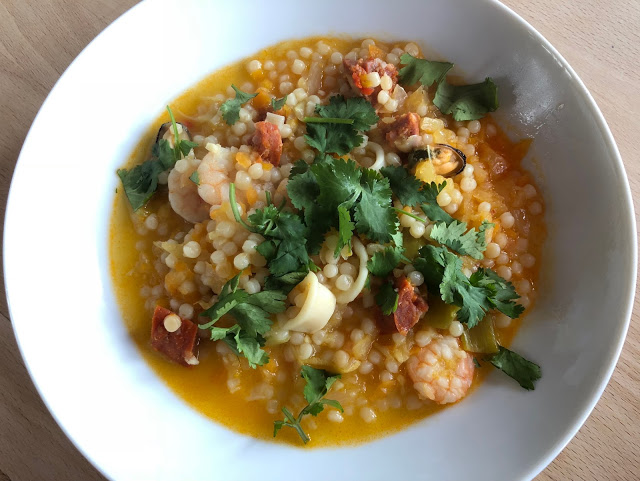 Instant Pot Giant Cous Cous with Seafood