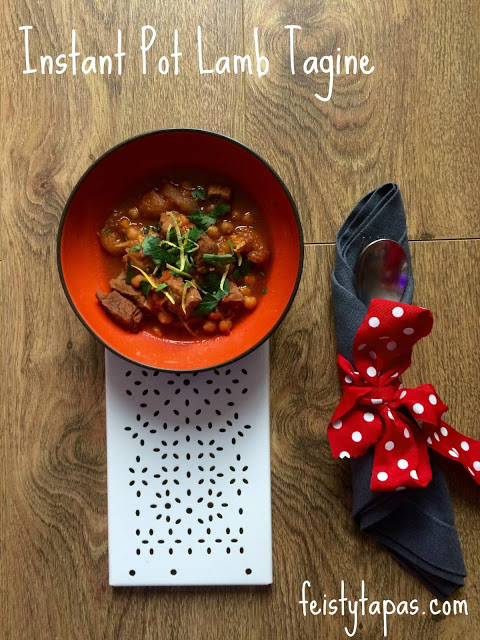 Delicious Instant Pot Pressure Cooked Lamb Tagine recipe with apricots, chickpeas, lamb