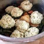 Instant Pot Chicken Stew with Suet-Free Dumplings ready to eat still in the Instant Pot DUO's stainless steel inner pot