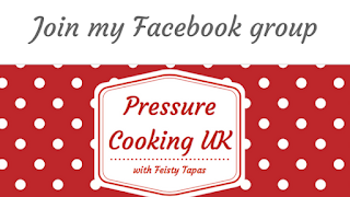 Pressure Cooking UK with Feisty Tapas Facebook group logo. Red background with the trademark Feisty Tapas white polka dots and the words Pressure Cooking UK with Feisty Tapas