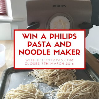 Win a Philips Pasta and Noodle Maker with Feisty Tapas in March 2016