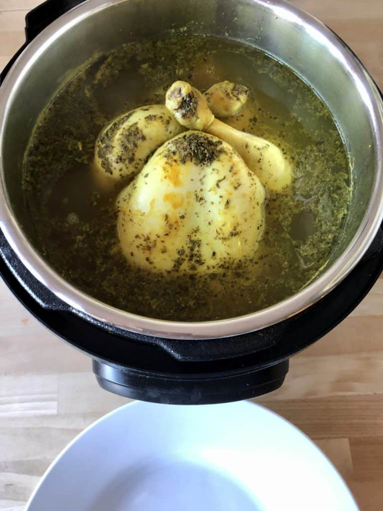 Instant Pot Zero Minute Chicken, the easiest and juiciest way to cook chicken in your Instant Pot.   Best of all, you get to put your feet up while your Instant Pot does the hard work