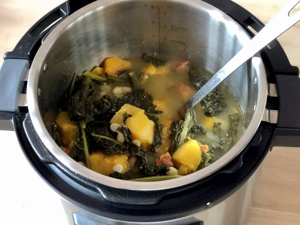 Instant Pot Cavolo Nero Soup recipe by Feisty Tapas - Soup just finished in the Instant Pot Duo Evo Plus