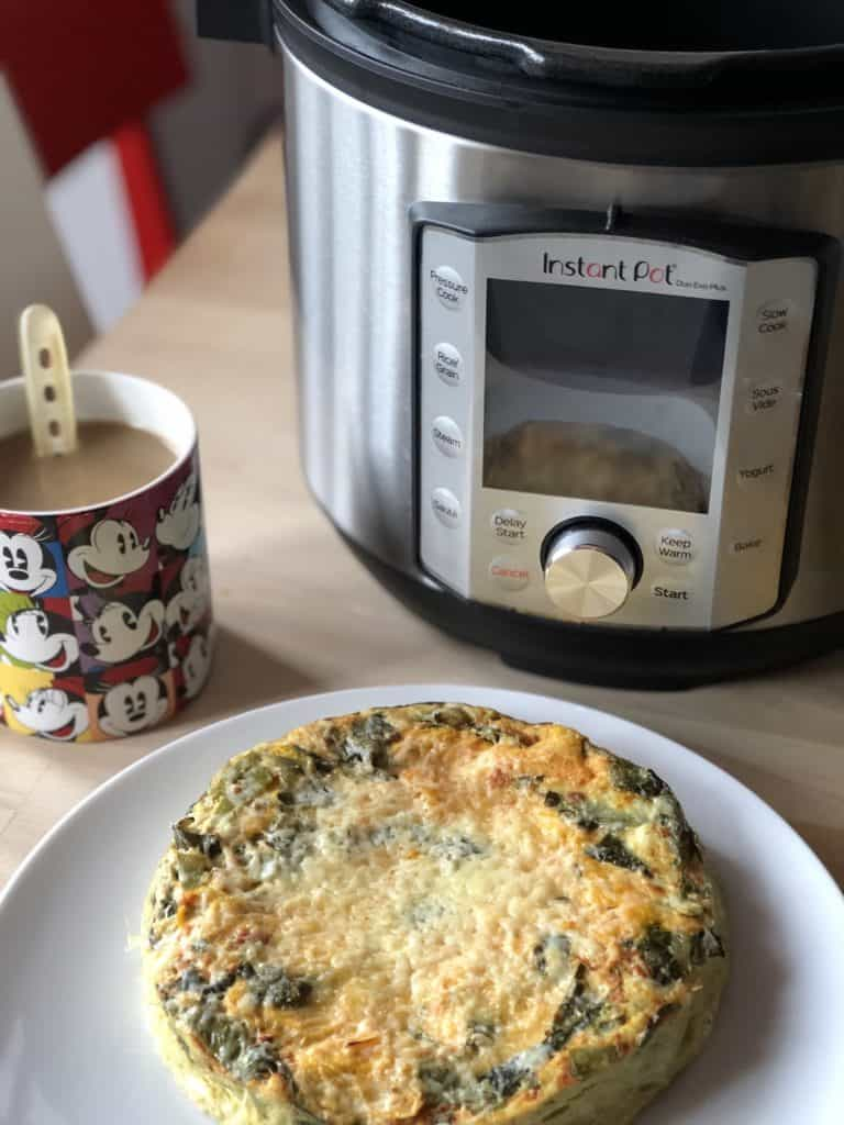 Instant Pot Chard and Sweet Potato Frittata with the Instant Pot Duo Evo Plus in the background
