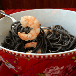 Squid Ink Pasta with Prawns recipe by Feisty Tapas - featured image
