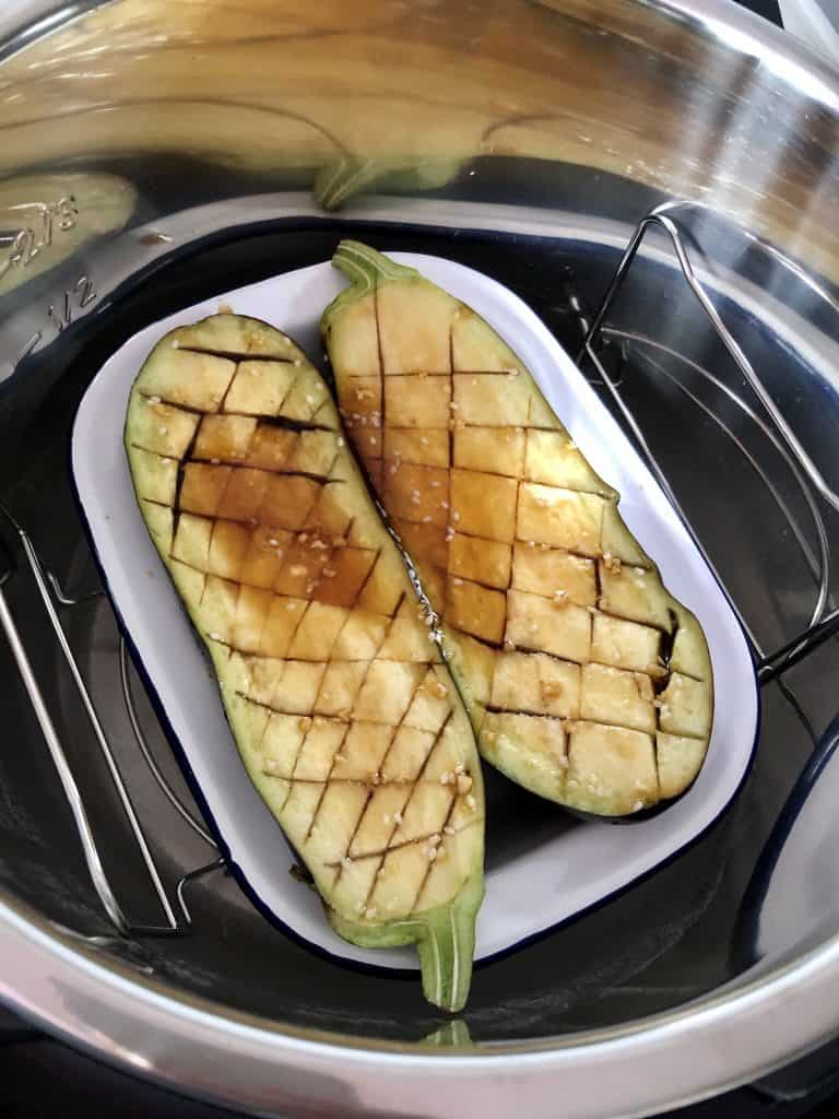 Aubergines ready to glaze in Instant Pot Duo Crisp