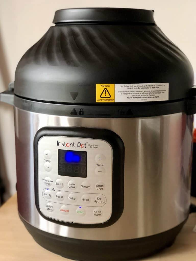 Instant Pot Duo Crisp with air fryer lid on - now available in UK and Europe