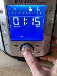 Time being programmed in Duo Evo Plus for Easy Instant Pot BBQ Pulled Pork recipe