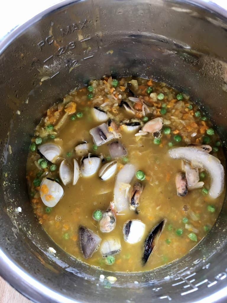 Instant Pot Seafood Rice before closing the lid