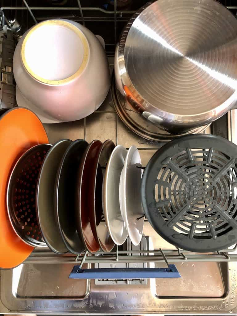 The Instant Pot Duo Crisp's inner pot, air fryer basket, tray and trivet steamer rack all can go in the dishwasher.jpg