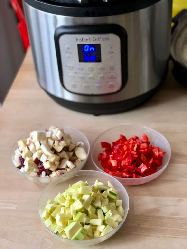 Ingredients for Instant Pot Ratatouille Pasta all prepared