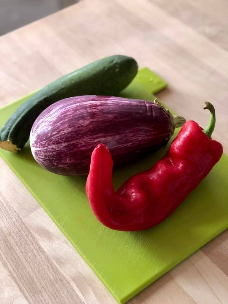 Ingredients for Ratatouille pasta - courgette, aubergine and pepper