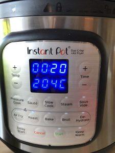 Instant Pot Duo Crisp - programmed air frying time