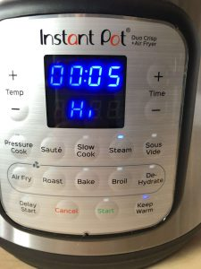 Instant pot Duo Crisp Roast Parsnips programmed pressure cooking time