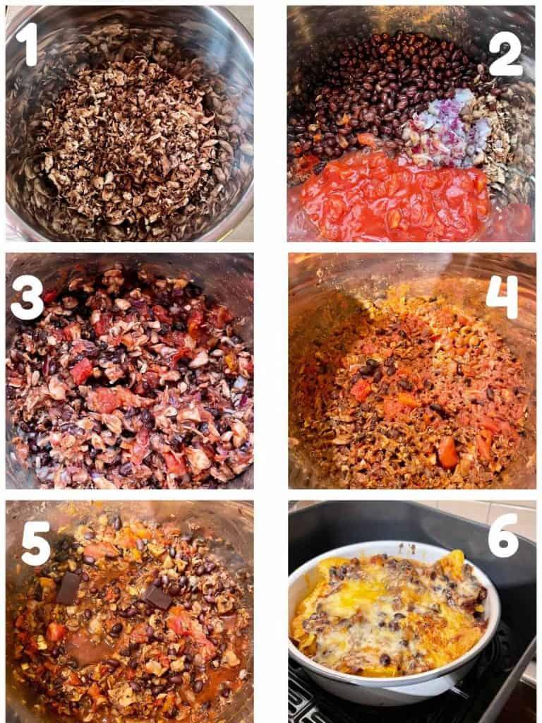 Instant Pot Mushroom Chilli Recipe Steps Collage