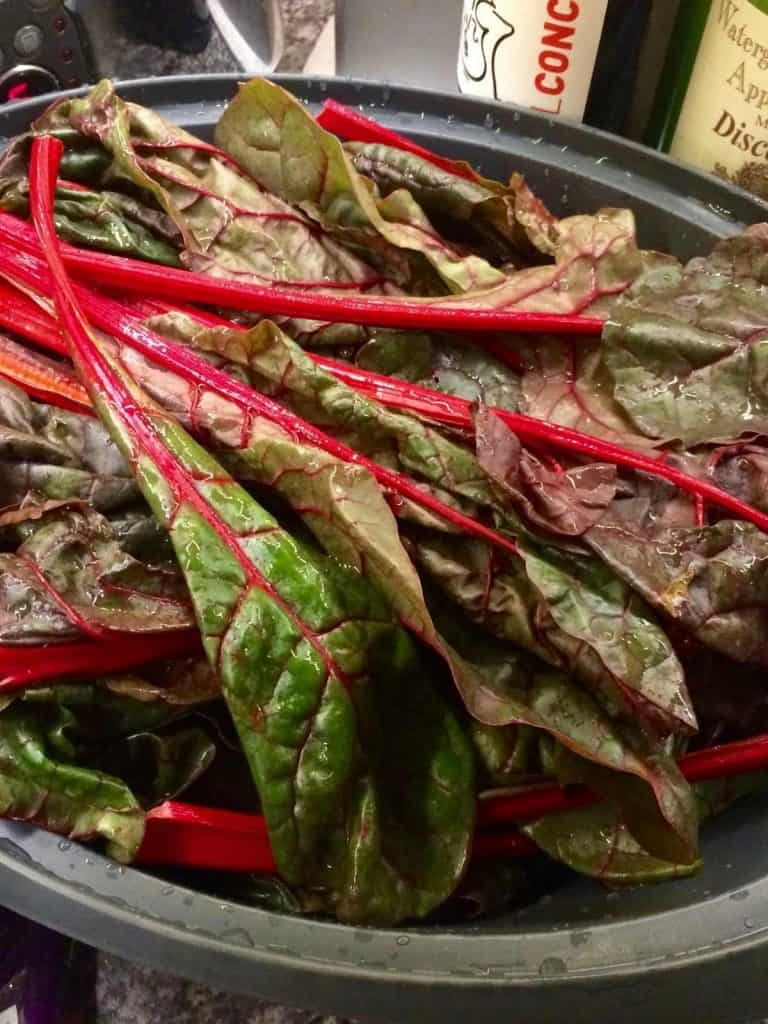 Thermomix Paprika Chard and Potatoes - acelgas con patatas - chard shown in the Thermomix Varoma