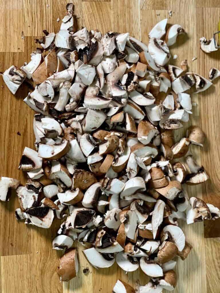 Chopped up bite-sized mushrooms for vegan mushroom stew