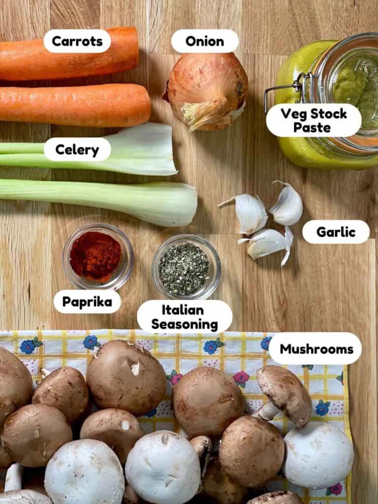 Ingredients for Pressure Cooked Vegan Mushroom Stew